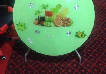 bàn ăn inox màu xanh