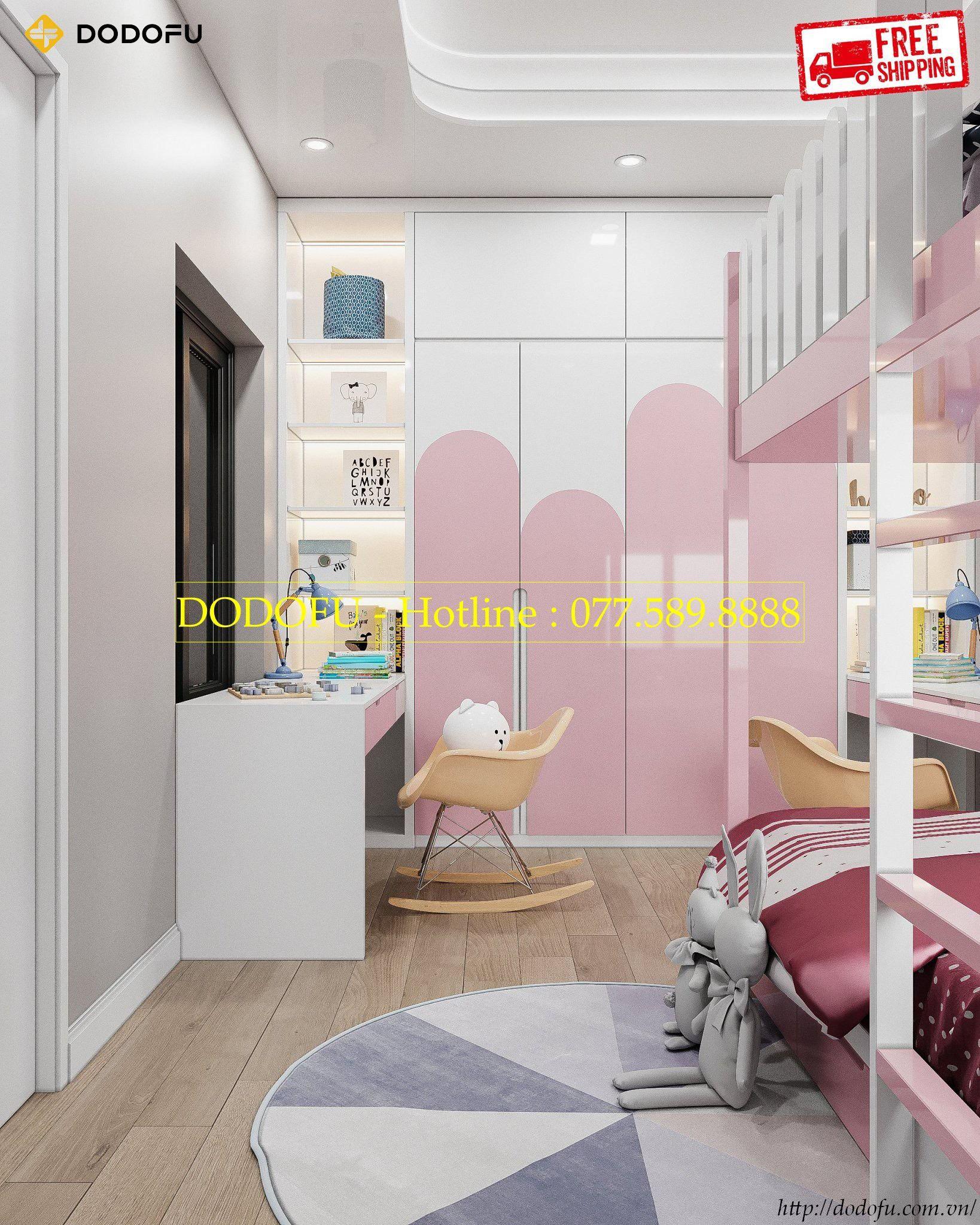 Thiết kế nội thất phòng ngủ cho bé gái nhà anh Hoàng tại Hải Phòng