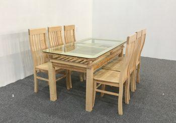 Bộ bàn ăn gỗ sồi màu tự nhiên 6 ghế