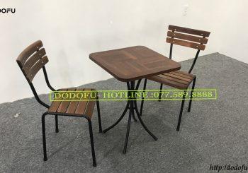 Bộ bàn ghế cafe nan sắt chân tĩnh