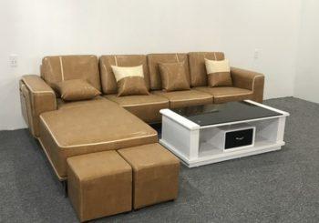 Bộ ghế sofa góc bọc da chân sắt