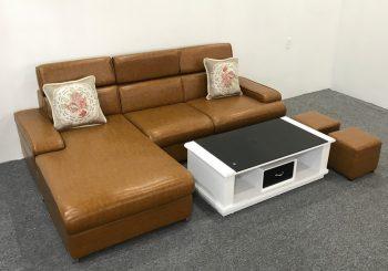 Bộ ghế sofa góc bọc da chân bom