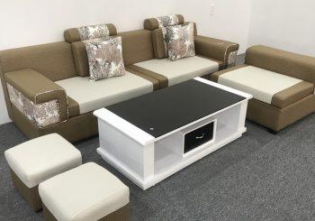 bộ ghế sofa nỉ chữ L màu nâu trắng